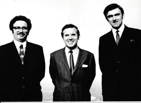 Church Officers in the early 1970s (l to r) Cedric McCrossan (Deacon); Chris Robinson (Pastor); David Ellis (Elder)